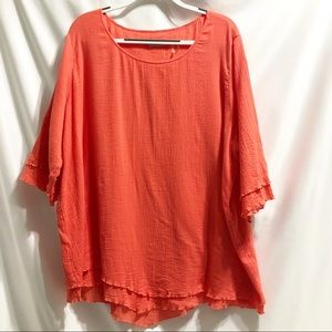 Soft Surroundings Siesta Key Coral Stacked Blouse